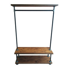 william vintage industrial pipe clothing rack with cedar wood shelving clothes racks