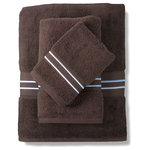 LuxorLinens - Windsor Towel Set, Brown-White Embroidery - Overview