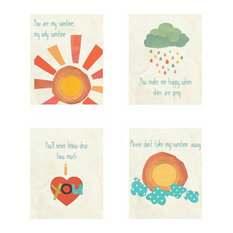 "Rebecca Peragine Inc / Children Inspire Design - You Are My Sunshine Collection, Set of Four 8""x10"" Children's Wall Art Prints - Kids Wall Decor"