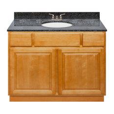 Brown Bathroom Vanity 42-inch Blue Butterfly Granite Top Faucet LB3B