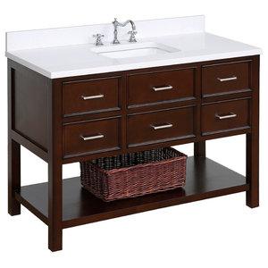 "New Hampshire 48"" Bath Vanity, Base: Chocolate, Top: Quartz"
