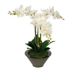 Artificial White Triple Stem Orchid in Gunmetal Round Zinc Vase