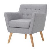 GDF Studio Madeira Buttoned Dark Teal Fabric Club Chair, Light Gray