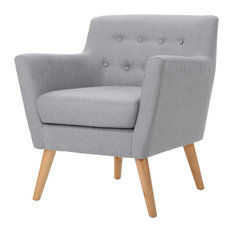 GDF Studio Madeira Buttoned Dark Teal Fabric Club Chair, Light Gray