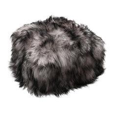 Icelandic Sheepskin Pouffe, Dark Grey