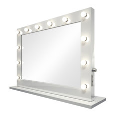 Wide Hollywood Audio Makeup Mirror, White Frame, Cool White Bulbs, 100x70 cm