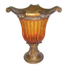 """20""""H Gold Amber Vase"""