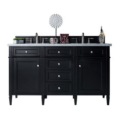 "Brittany 60"" Double Vanity Black Onyx, Base Cabinet Only"