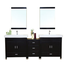 "80.7"" Double Sink Vanity, Solid Birch Wood, Black Finish, White Ceramic Top"