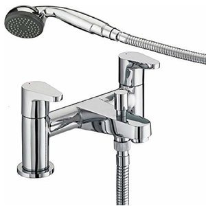 Contemporary Bath Shower Mixer with Ceramic Disk Valve, Chrome Plated Finish