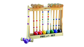 """Amish-Made Deluxe Wooden 8 Player Croquet Set, 28"""" Handles, Wooden Holder"""