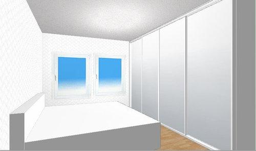 Schrank im kleinen Schlafzimmer. Verspiegelte Türen oder nicht?