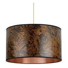 Dark Burl Wood Veneer Drum Lampshade 2, 40 Cm