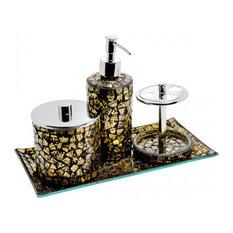 Mosaic Glass Bathroom Set, Gold