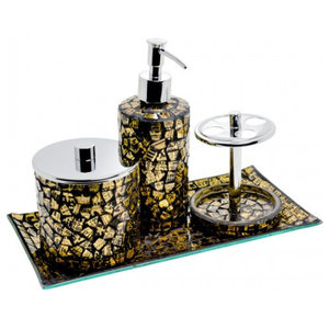 Mosaic Glass Bathroom Set, Gold