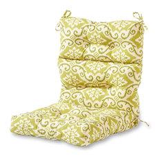 Outdoor High Back Chair Cushion, Shoreham Green Ikat