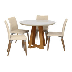 Duffy 45-inch 5-Piece Round Dining Table And Chairs Set Off White And Dark Beige