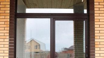 Раздвижная пластиковая дверь-портал в ламинации