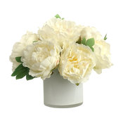Artificial Silk Peonies Floral Arrangement and Decorative Vase