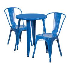 "Flash Furniture 3 Piece 24"" Round Metal Dining Set in Blue"