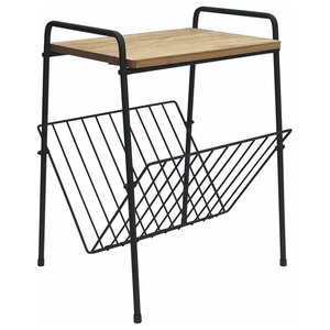 Modern End Table with Sturdy Wood Top and Black Metal Rack