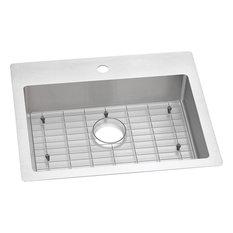 Elkay Crosstown Stainless Steel 1-Bowl Dual Mount ADA Sink Kit, Faucet Holes: 1