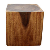 Haussmann Eco Wood Cube End Coffee Table 18 X 18 X 18 In High Livos Walnut Oil