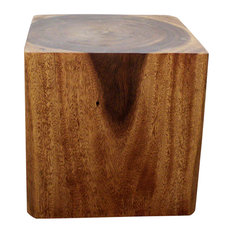 Haussmann Eco Wood Cube End Coffee Table 18 X 18 X 18 In High Livos Walnut Oil