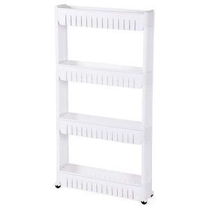 Modern Storage Rack, White PP Plastic With Wheels and Open Shelves for Storage