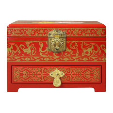 Chinese Oriental Lacquer Mirror Jewelry Chest Box