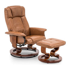 Swiveling Recliner Chair With Ottoman, Faux Leather and Padded Armrest, Saddle