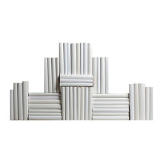 Decorative Books, Modern White Wrapped Book Wall, Set of 50