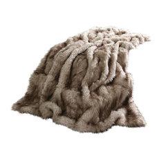 "Luxe Faux Fur Throw Blanket, Champagne Fox, 58""x84"""