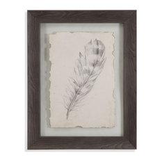 """""""Feather Sketch II"""" Framed Under Glass Artwork"""