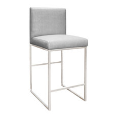 Worlds Away Kingston Counter Stool, Silver