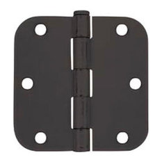 "Cosmas Matte Black Door Hinge 3.5"" With 5/8"" Radius Corners"