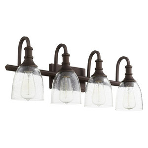 """Richmond 4-Light 28"""" Oiled Bronze Vanity Light, Oiled Bronze With Clear/Seeded"""