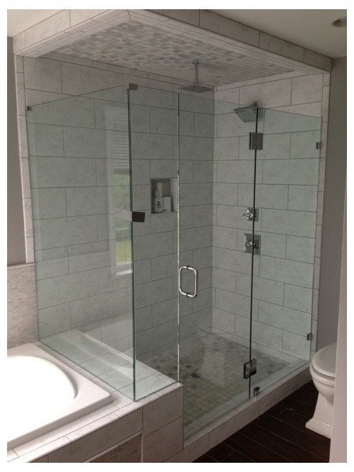 The Large Shower Enclosure Benefits From Glass To Glass Hinges, Eliminating  The Need For A Header Rail. Frameless European Shower Glass Enclosures In  ...