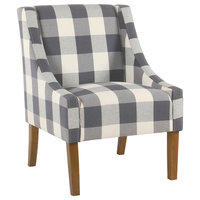 Fabric Wooden Accent Chair With Buffalo Plaid Pattern, Blue, White & Brown