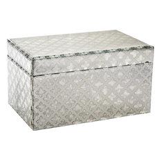 Maureen Jewelry Box, Cream, Mirror, Black, Small