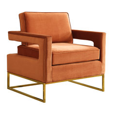 Noah Cognac Velvet Accent Chair, Cognac
