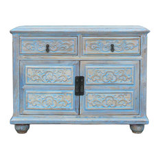 Oriental Floral Shabby Chic Rustic Light Blue High Credenza Cabinet Hcs1158