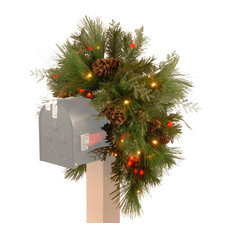 "36"" Decorative Collection White Pine Mailbox Swag, Warm White and Red LED Lights"