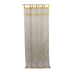 Indie Style Decor- 2 Ivory Brown Gold Indian Sari Curtains Organza Drapes Panels