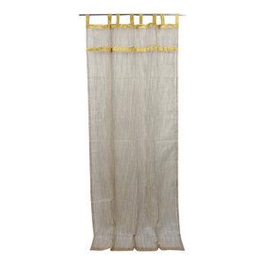 Mogul Interior - Indie Style Decor- 2 Ivory Brown Gold Indian Sari Curtains Organza Drapes Panels - Curtains
