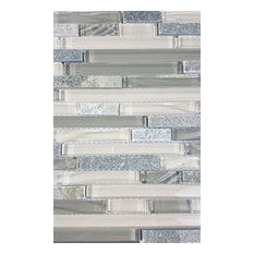 New Era Shell Gray Linear Glass and Stone Mosaic Tile, Sample