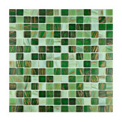 "12""x12"" Cuivre Translucent Glass Mosaic Tiles, Set of 10, Forest"