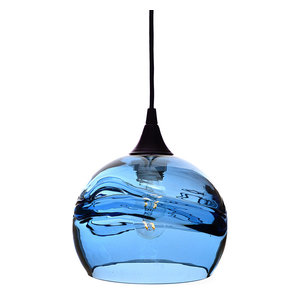 Swell Pendant Form No. 767, Blue Glass Shade, Black Hardware, 4W LED