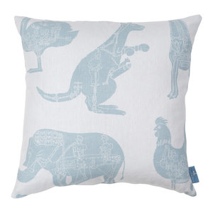 """PaperBoy Interiors """"How it Works"""" Cushion, White and Blue"""