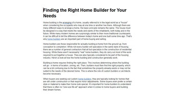 Finding the Right Home Builder for Your Needs